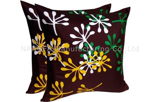 Faux silk cushion cover with silk screen
