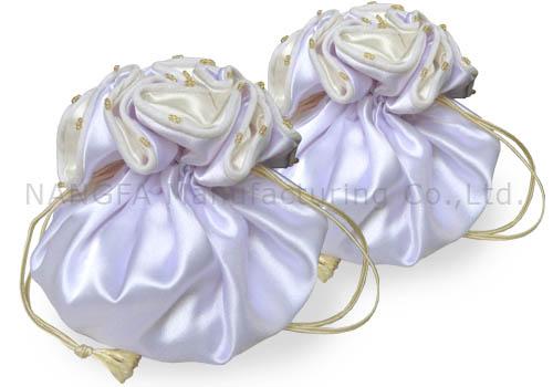 White Ivory Satin Jewelry Bag Wedding Pouch Design Handbag