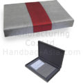 silver hinged lid silk wedding box for invitation cards and jewelry