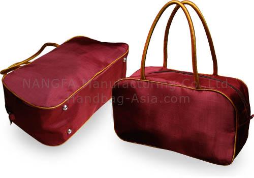 Maroon Taffeta Silk Shoulder Handbag