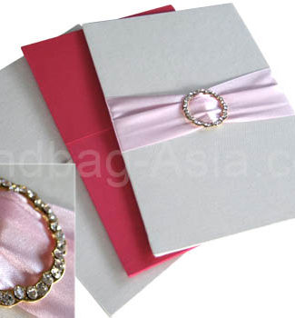 silk invitation cards with buckle