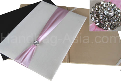 Silk Pocket Folio With Crystal Brooch Embellishment For Wedding Invitations