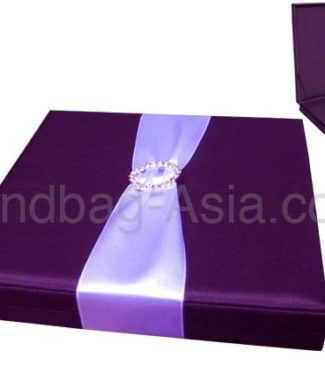 Purple boxed wedding invitation