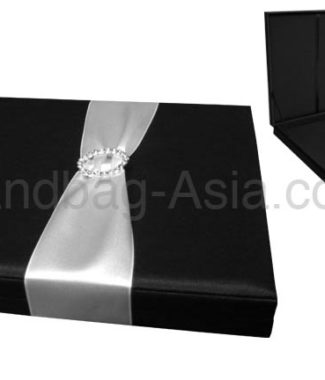 Black boxed wedding invitation with buckle