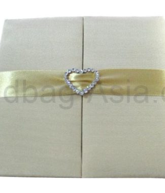 Handmade silk invitation holder with heart buckle