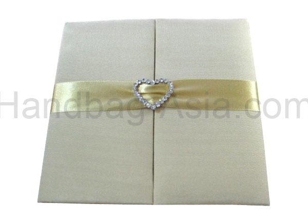 Handmade silk invitation holder with heart buckle