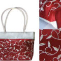 Embroidered silk handbag with silk shoulder handles