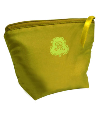light green silk cosmetic bag with logo print for wholesale