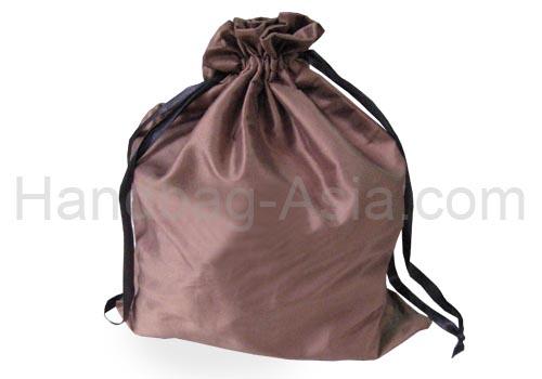 brown silk drawstring bags