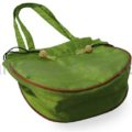 Green silk evening bag