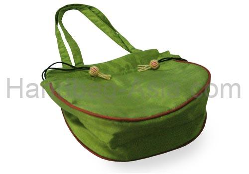 Green silk evening bag