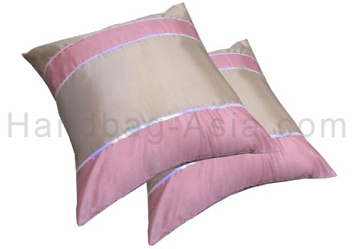 Silk cushion cover with sequences