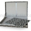 Padded invitation box in silver with hinged lid and printed design