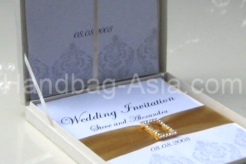 Couture Silk Invitation Box Set For Wedding Invitations Handbag