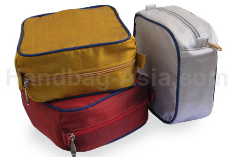 Luxury silk travel cosmetic bags