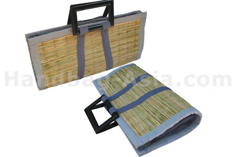 Reed bag with wooden handle from Thailand