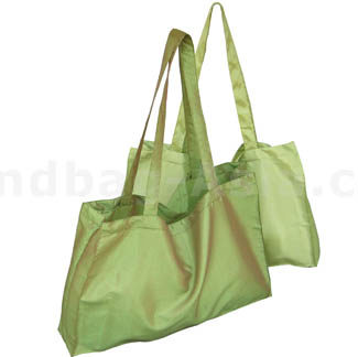 Large green silk shopping promotion bag