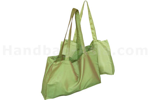 Large green silk shopping promotion bag