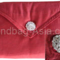red silk envelope with crystal button for wedding cards