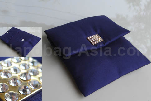 royal blue silk wedding pouch