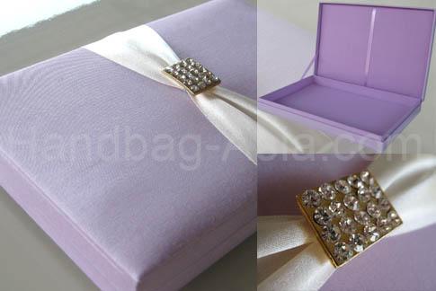 Embellished silk wedding invitation box with crystal brooch