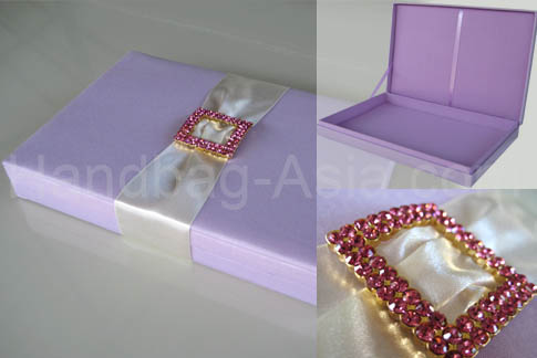 Lavender Silk Box For Wedding Invitation Cards With Large Crystal Buckle