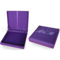 Purple monogram embroidered wedding box with padding and hinged lid for cards