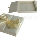 bow embellished ivory wedding box with silk