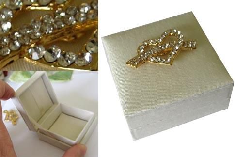 Embellished Tiny Hinged Lid Wedding Favour Box Ring Box