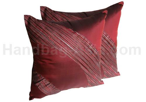red luxury Thai silk cushion cover