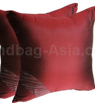 Red Thai silk pillow cover for decor