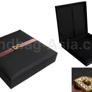 Embellished black silk box with hinged lid