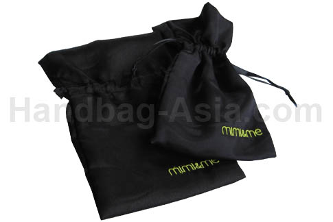 Embroidered black drawstring bag