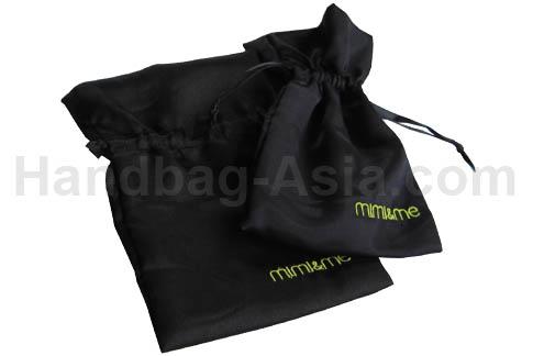 Embroidered black drawstring bag