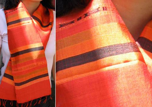 orange mudmee pattern silk shawl from Thailand