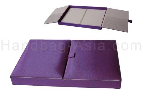 Purple silk box for wedding and invitation cards