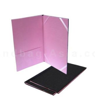 Black and pink silk pocket folder