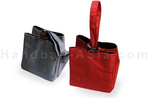 cube silk bag with coconut handles and Thai silk
