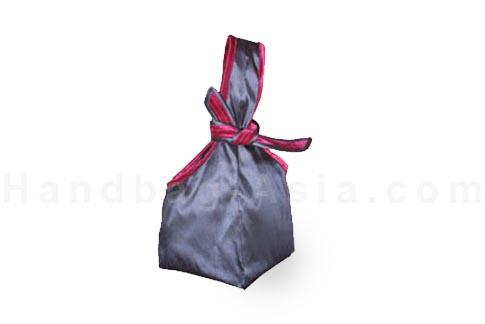 Japanese silk bag with grey silk
