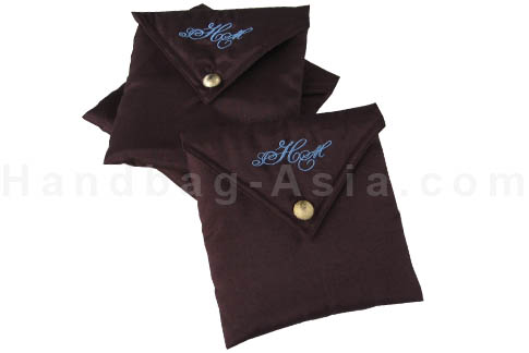 customised embroidered brown silk envelope
