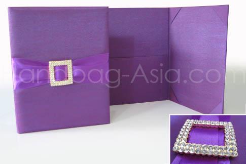 Purple pocket fold invitation