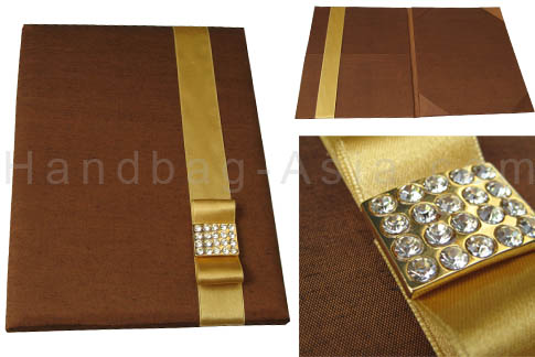 Luxury brown high end wedding invitation pocket folder in brown and gold