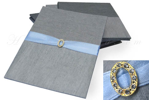 Silver silk card with small embellishment
