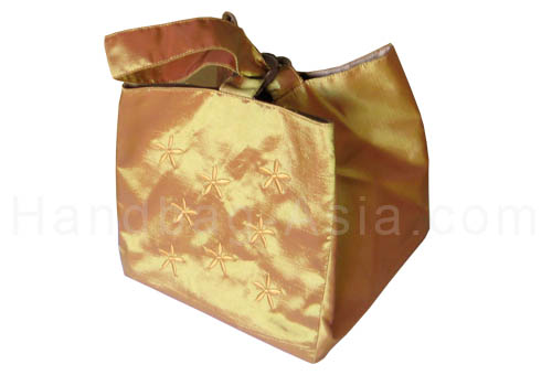 Embroidered square shape silk bag in gold