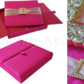 Deep pink Thai silk box for wedding invitation with removable pad