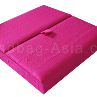 bright pink boxed silk invitation