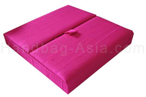 bright pink boxed silk invitation
