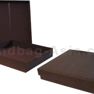 Chocolate Color Dupioni Silk Wedding Invitation Box