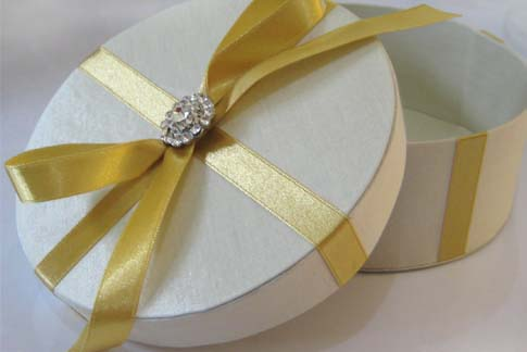ivory silk gift box with embellishment