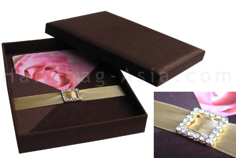 wedding invitations in brown in boxed form